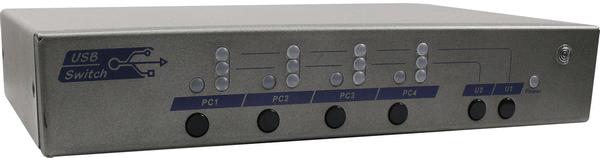4 Ports USB 2.0  USB Switch with Hotkey Serial IR Control