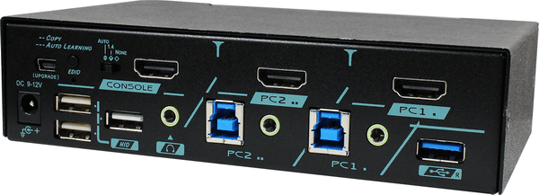 4K 60Hz (4:4:4) HDMI 2-Port USB 3.2 Gen1 KVM Switch with Real-Time HDCP Engine, Audio & Hotkey Control