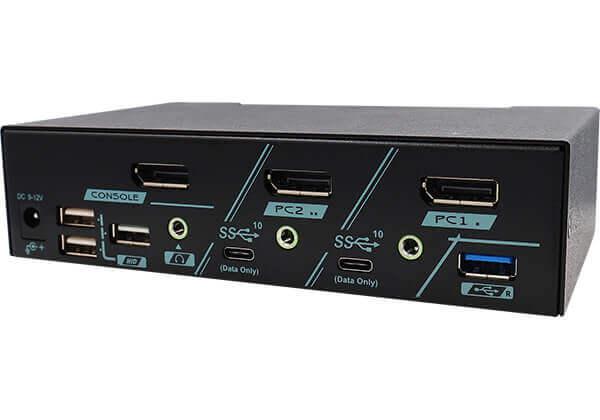 2 Ports 8K DisplayPort 1.4 KVM Switch With USB 3.2 Gen 2 Rear 45