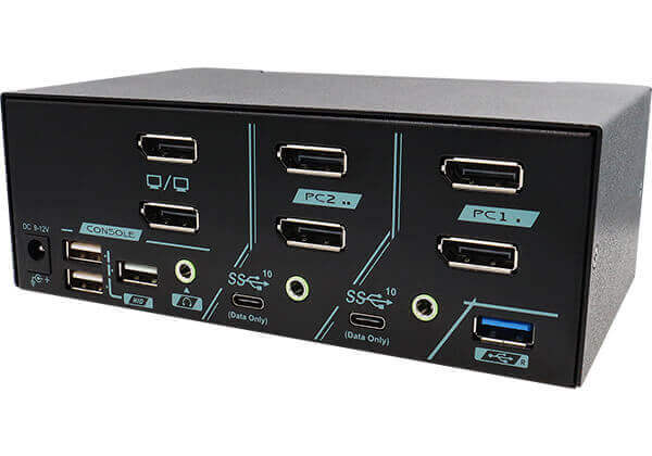 2 Ports Dual Monitor 8K DisplayPort 1.4 KVM Switch With USB 3.2 Gen 2 Rear 45