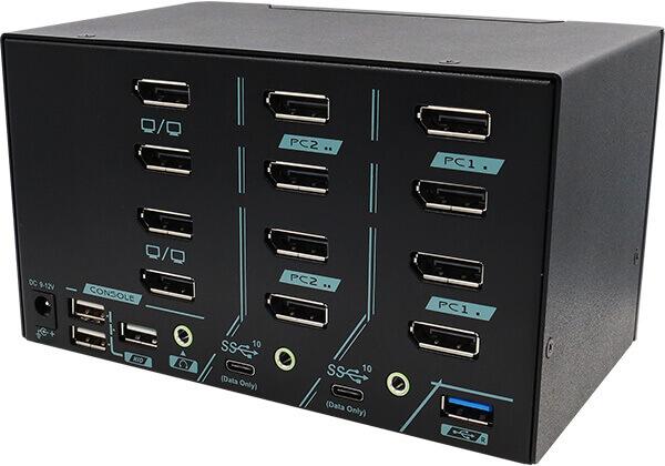 2 Ports Quad Monitor 8K DisplayPort 1.4 KVM Switch With USB 3.2 Gen 2 Rear