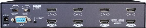4X4 HDMI Video Matrix with IR/Serial Control