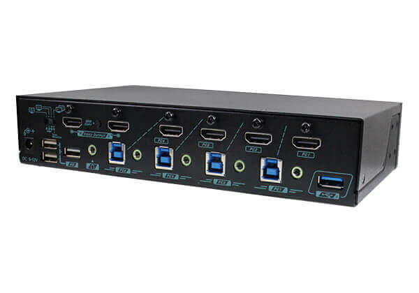4 Ports Full-Frame PBP 4K HDMI KVM Switch with 4x2 Video Martix and Mouse Roaming Function - 1