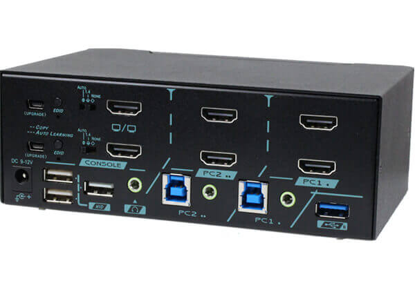2 Ports Dual Monitor True 4K HDMI 2.0 KVM Switch With HDCP Engine Rear 45