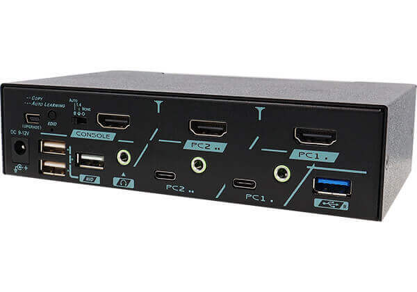 2 Ports True 4K HDMI 2.0 KVM Switch With USB 3.2 Gen 2 and HDCP Engine Rear 45