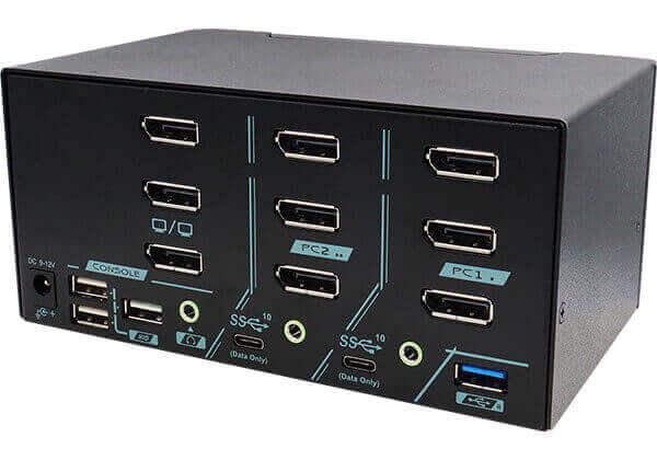 2 Ports Triple Monitor 8K DisplayPort 1.4 KVM Switch With USB 3.2 Gen 2 Rear 45