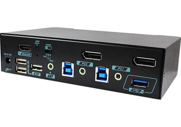 2 Ports True 4K DisplayPort KVM Switch with HDMI 2.0 output and USB 3.2 Gen 1