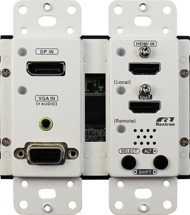 US Wall Plate 4K Multi Format Video Extender Transmitter with Video Switch HDMI DisplayPort VGA 70M HDBaseT Decora Type