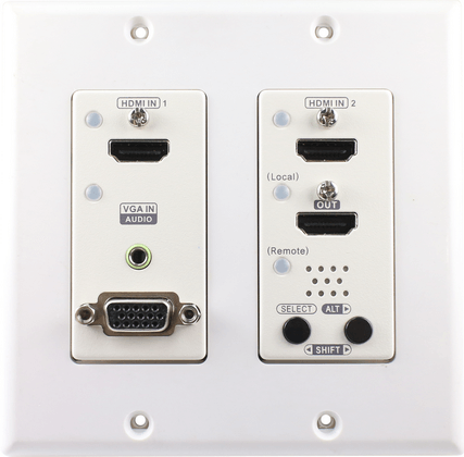 US Wall Plate 4K Multi Format Video Switch with HDMI VGA Audio Decora Type