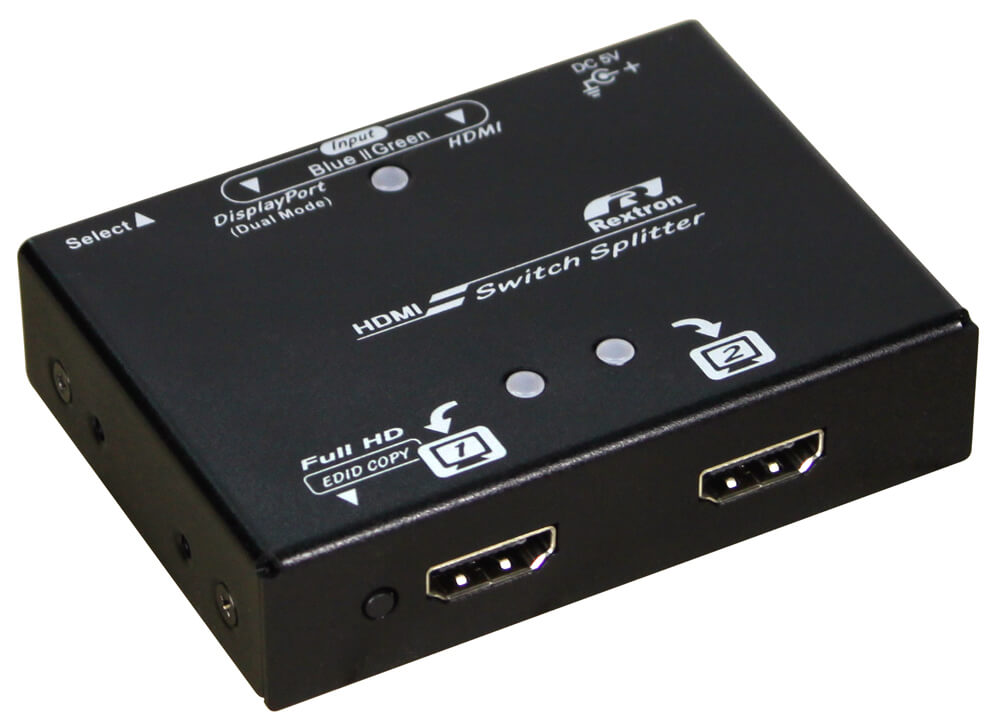 2X2 DisplayPort and HDMI Video Switch Splitter with HDMI Outputs