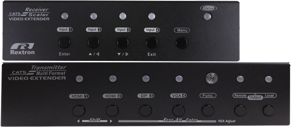 Multi Format Video Extender with 4 Ports Switch, HDMI, DisplayPort, VGA, Audio, IR, Serial, 70M