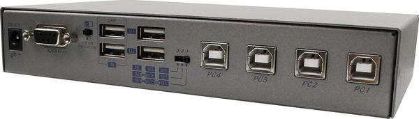 4 Ports USB 2.0  USB Switch with Hotkey, Serial, IR Control