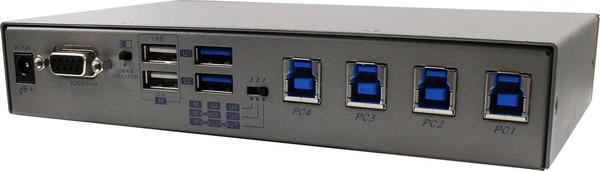 4 Ports USB 3.2 Gen 1 USB Switch with Hotkey, Serial, IR Control