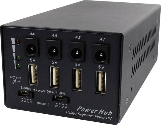 Power-Sequencing Power Hub (5V/12V) with Selectable Soft-Startup & Power-Sequencing Timing
